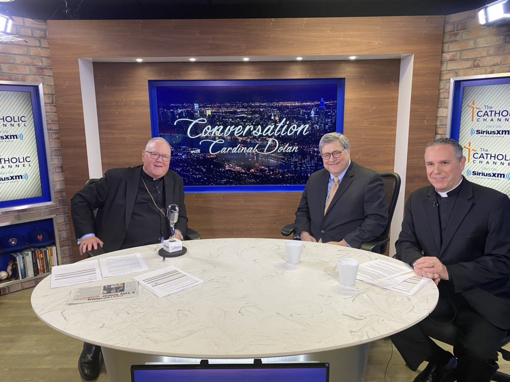 """Happening now: AG Barr on @SIRIUSXM """"Conversation with @CardinalDolan"""" talking religious liberty. Tune in!"""