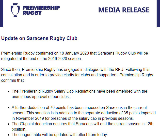 #Rugby NEWS: #PremiershipRugby Ltd & the remaining 11 #EnglishPremiership Clubs cover themselves in glory, sticking the boot in just a little bit harder into @Saracens by deducting another 70 points on top of last year's 35 points, £5.4 million and forced relegation.