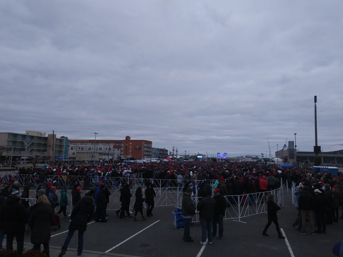 Thousands are lined up for the chance to see President Donald Trump in Wildwood