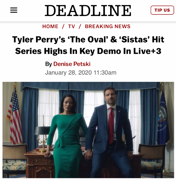 I want to say a special thanks to my audience! You are the Tyler Perry Army and you keep marching all my shows and movies to #1. After all these years you're still riding with me! On behalf of all of these people whose dreams are coming true, we thank you! https://deadline.com/2020/01/tyler-perrys-the-oval-sistas-hit-series-highs-in-key-demo-in-live3-1202844136/…