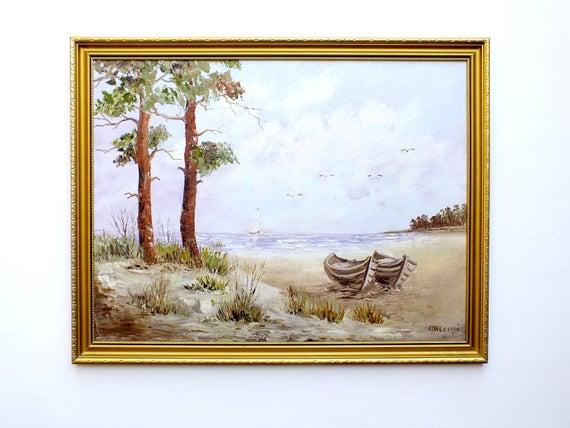 Beach Seascape Vintage Oil Painting Signed Framed Boats Seashore by GalleryThane Unbeatable! #oilpainting #beachpainting #paintingoil https://etsy.me/2LGtrVjpic.twitter.com/aMcgIbodjj