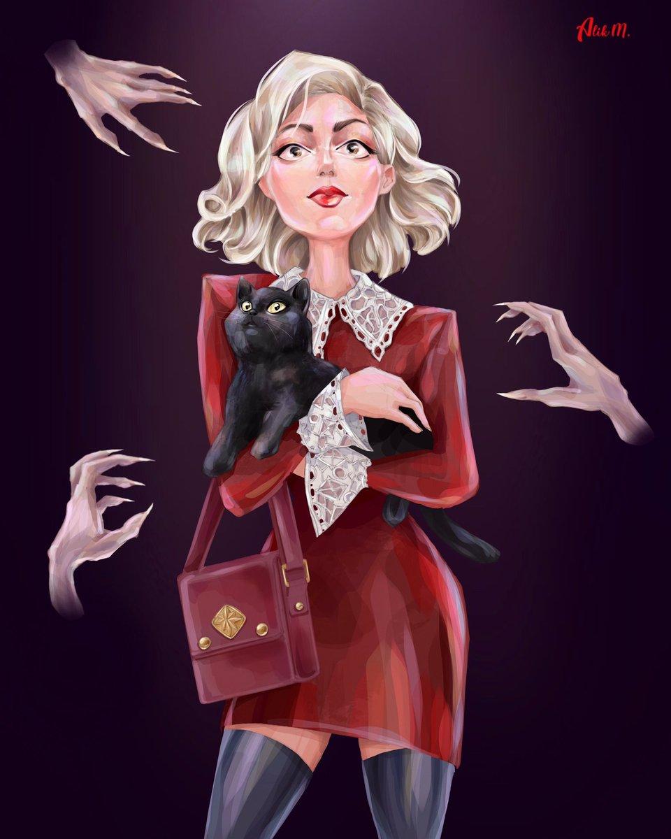 """""""Chilling Adventures of Sabrina"""" Fanart@kiernanshipka @sabrinanetflix My Instagram: https://www.instagram.com/alik.melnikov/  #Sabrina #SabrinaSpellman #witch #ChillingAdventuresofSabrina #SabrinatheTeenageWitch #caos #art #fanart #drawing #painting #illustration #digitalartpic.twitter.com/bcbhV6R93C"""