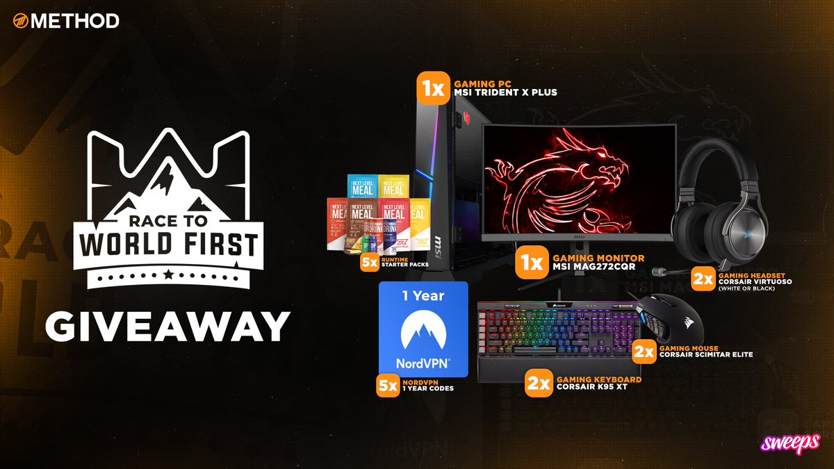 Weve teamed up with @Methodgg for this Race to World First: Nyalotha giveaway! To enter: 🔗 Click here: sweeps.gift/mBIOB Bonus entries: 💬 Reply to this post with #RWF 💞 Retweet and like this post 👉 Follow @Methodgg & @Sweepsgg