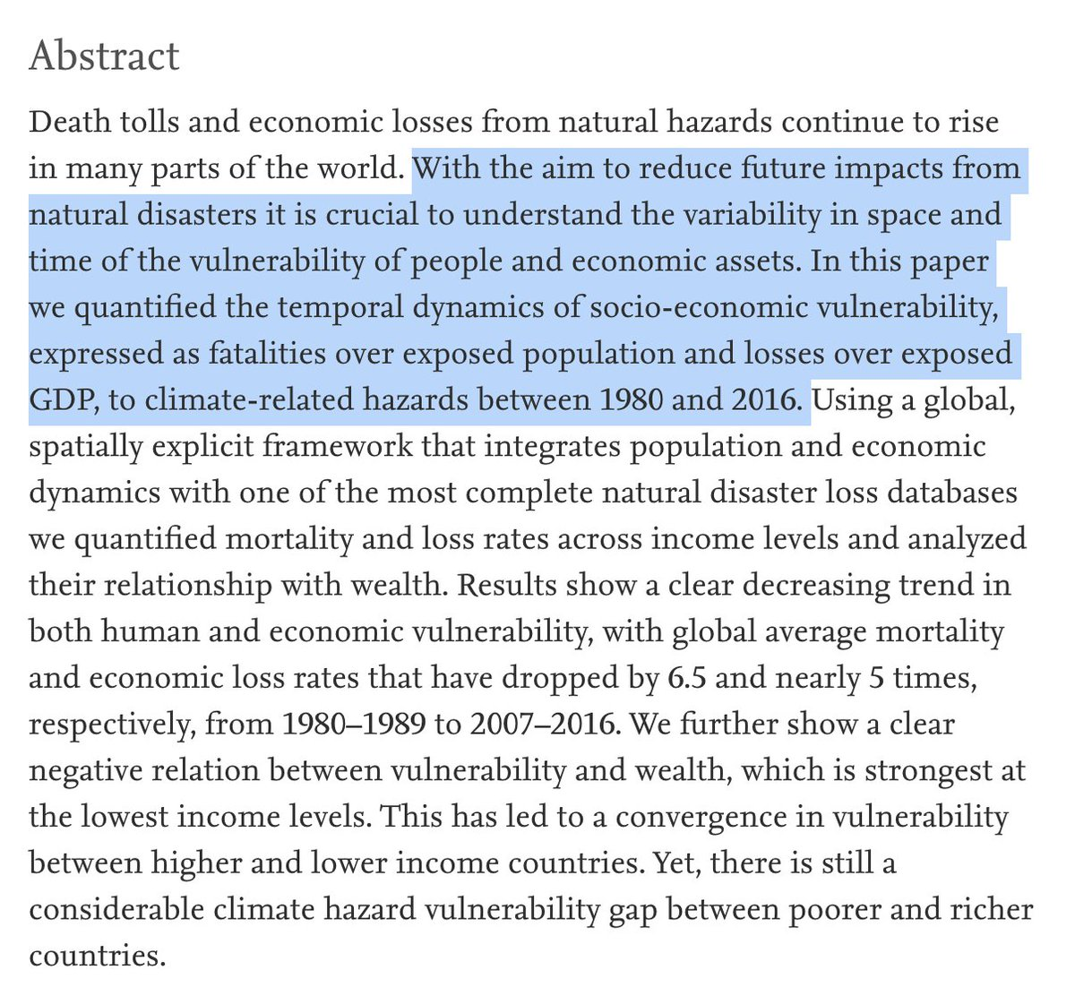 Your OWN study also is not denying that climate change is happening...it clearly is. It's studying how communities are RESPONDING and how VULNERABLE they are. ;) #ScienceLiteracy   By directly quoting your source...we can all vet your claims, assumptions, science, and accuracy.pic.twitter.com/pbUQhtwleG
