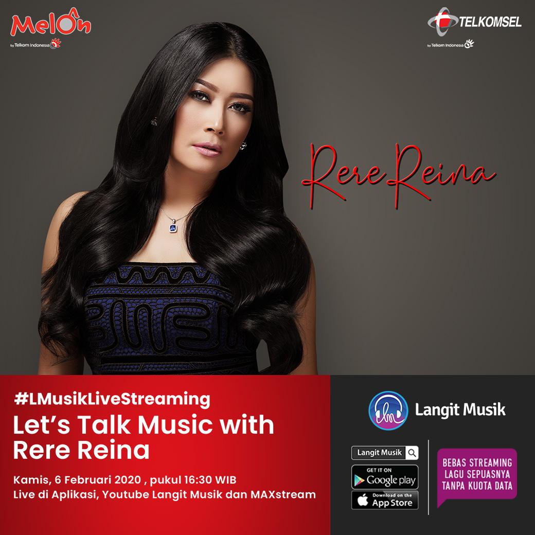 Jangan sampe ketinggalan buat streaming Let's Talk Music with @rere_reyreina pada hari Kamis, 6 Februari 2020 pukul 16.30 WIB hanya di aplikasi dan youtube channel @LangitMusik atau di Maxstream #MusikTanpaKuota #lmusiklivestreaming #LangitMusik #MelonIndonesiapic.twitter.com/N7cuZKH4m3