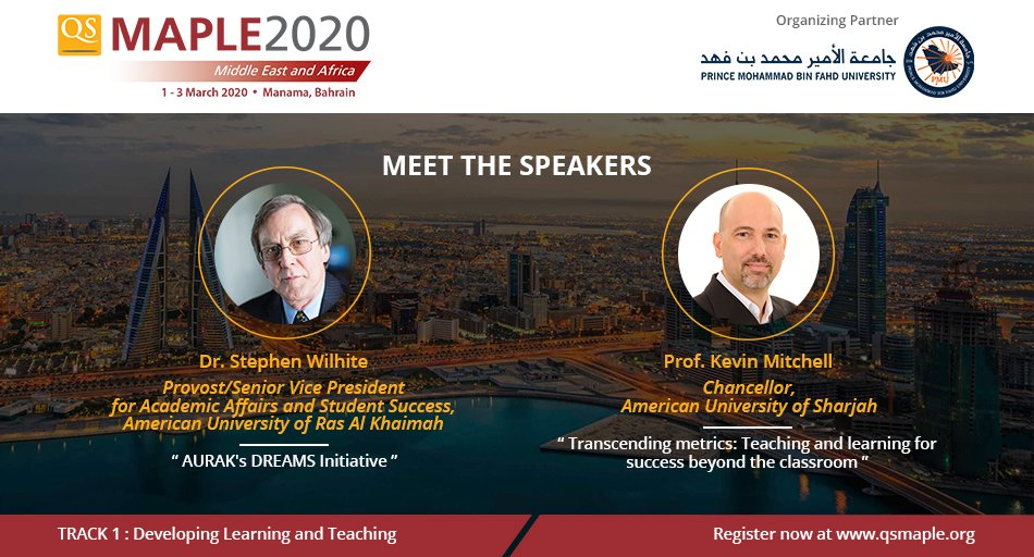 Pleased to announce that Dr Stephen Wilhite of @AURAK and Prof Kevin Mitchell of @AUSharjah will join us as speakers at #qsmaple2020.   Meet #highered decision-makers & experts, build new partnerships & learn about best practices at #qsmaple2020. Register: http://bit.ly/qsmaple2020 pic.twitter.com/uSSUd6dv5j