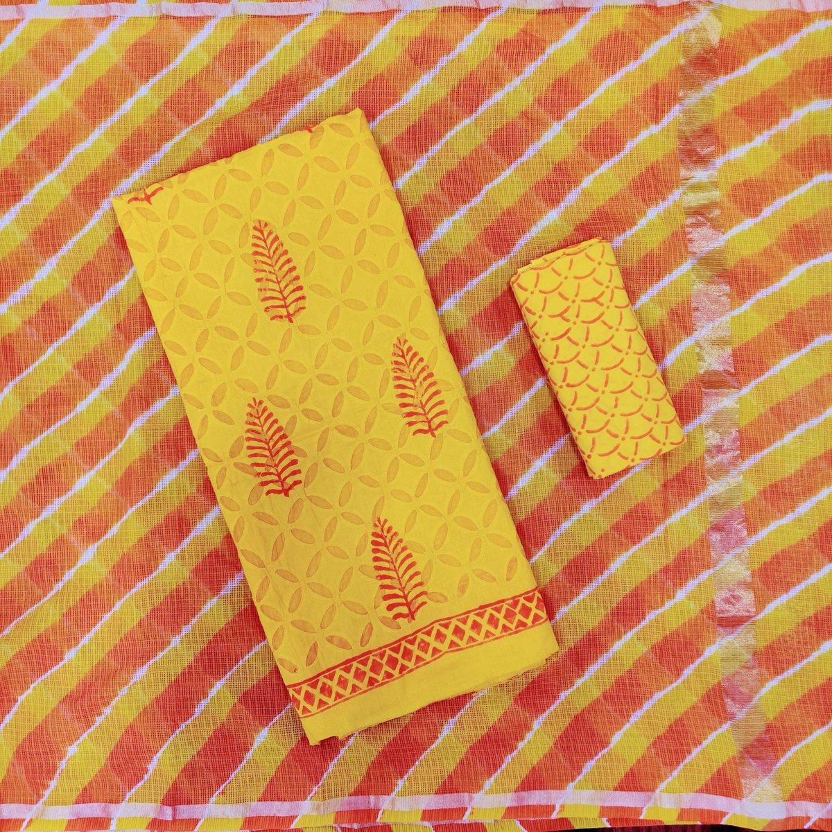Dress Material consisting of Cotton Applique Printed Top, Kota Doria Leheriya Dupatta & Cotton Printed Bottom  #fashion #clothing #apparel #cotton #applique #print #printed #kurta #kurti #kota #kotadoria #leheriya #dupatta #bottom #dressmaterial #unstitched #shopping #traditionalpic.twitter.com/7gSlSXanTl