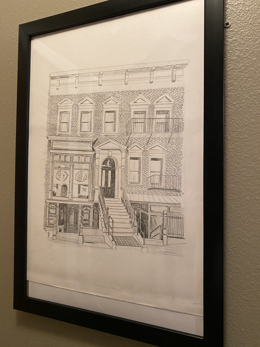 so my friend's mom has the most incredible wedding gift tradition— she draws a picture of where the couple got married. in our case, she chose to draw the stoop on delancey that she knows is so important to us. pic.twitter.com/bmsVkIMc8v