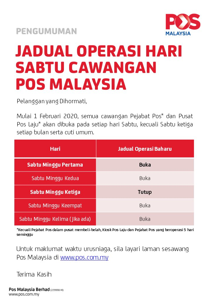 Pos Malaysia Berhad On Twitter Pengumuman Jadual Operasi Hari Sabtu Cawangan Pos Malaysia