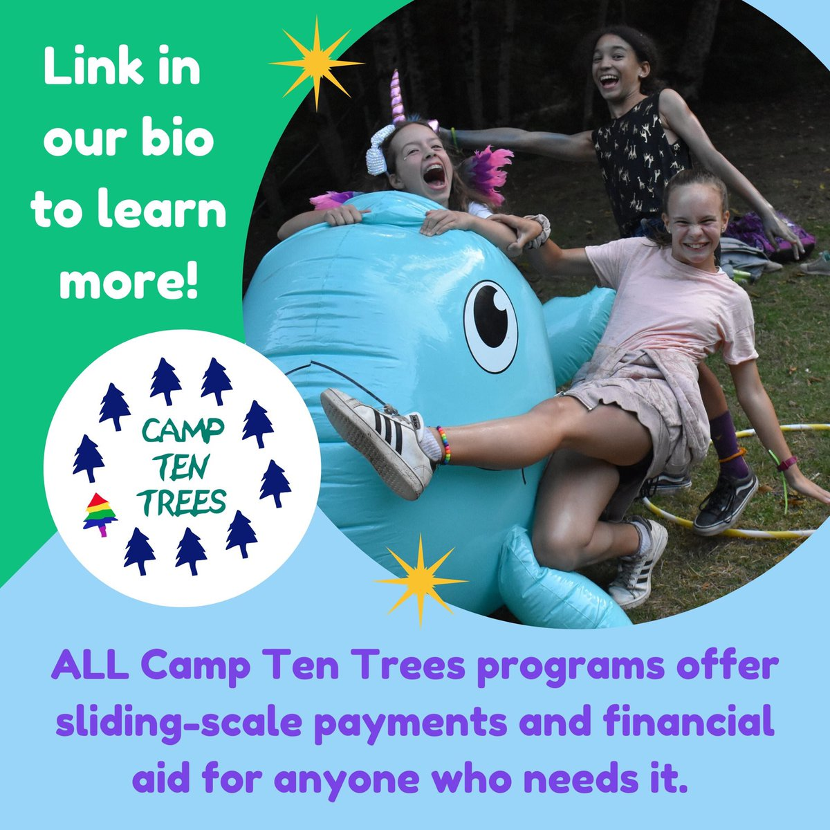 For LGBTQ2S+ youth, youth of LGBTQ2S+ families & non-traditional families ages 8-17! This is also our 2ND year of Trans Camp specifically for transgender, non-binary, & two-spirit youth! https://t.co/y3SGBcWNxq