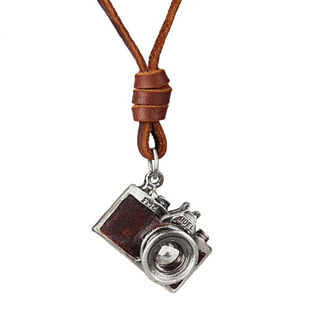 #makeup #bestoftheday Leather Necklace for Men with Camera Shaped Pendant