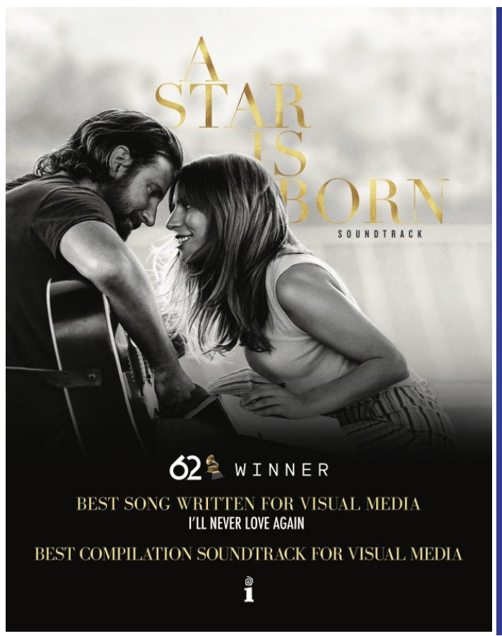 Can we all talk about the fact that @ladygaga  won two #GRAMMYs  !!? Dos!! Deux!! #BestSongWrittenForVisualMedia  #BestCompilationSoundtrackForVisualMedia   #IllNeverLoveAgain  #AStarIsBorn