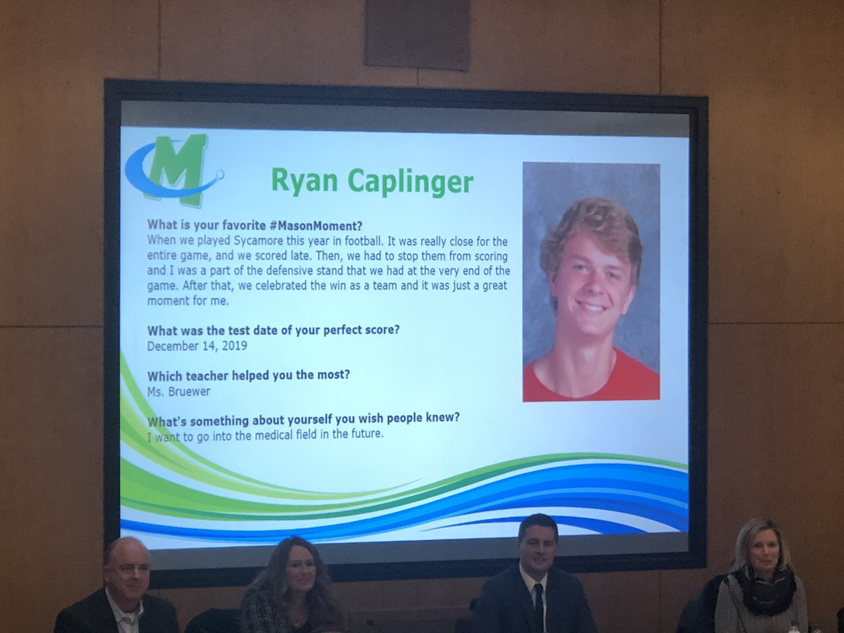 Very Special night for 21 Mason students tonight @ our Board of Education meeting! The students got the recognition they deserved for earning a perfect ACT score, Ryan Caplinger being one of them! WE ARE SO SO PROUD OF RYAN & HIS FAMILY FOR THIS HONOR!! LGL!!! @MasonSchools