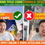 Huwag maghintay ng matagal! Get your loan release as fast as 3 days for your Home construction/Renovation Just go to our website @ https://t.co/GOoy5HtxFP 👍💵🏠#jctezloan #WemakeitEZforyou #landtitleloan #Sanglatitulo