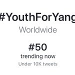 Image for the Tweet beginning: #YouthForYang is now officially trending