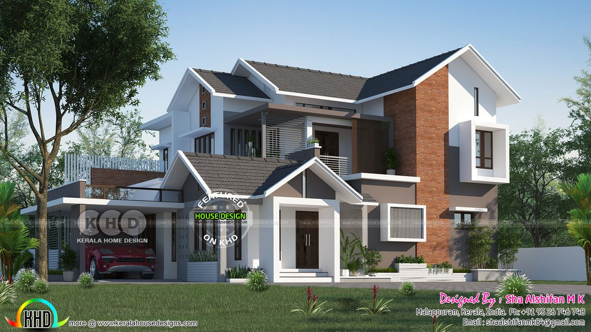 Kerala Home On Twitter Modern Sloping Roof House Https T Co 32fcqwhmbv