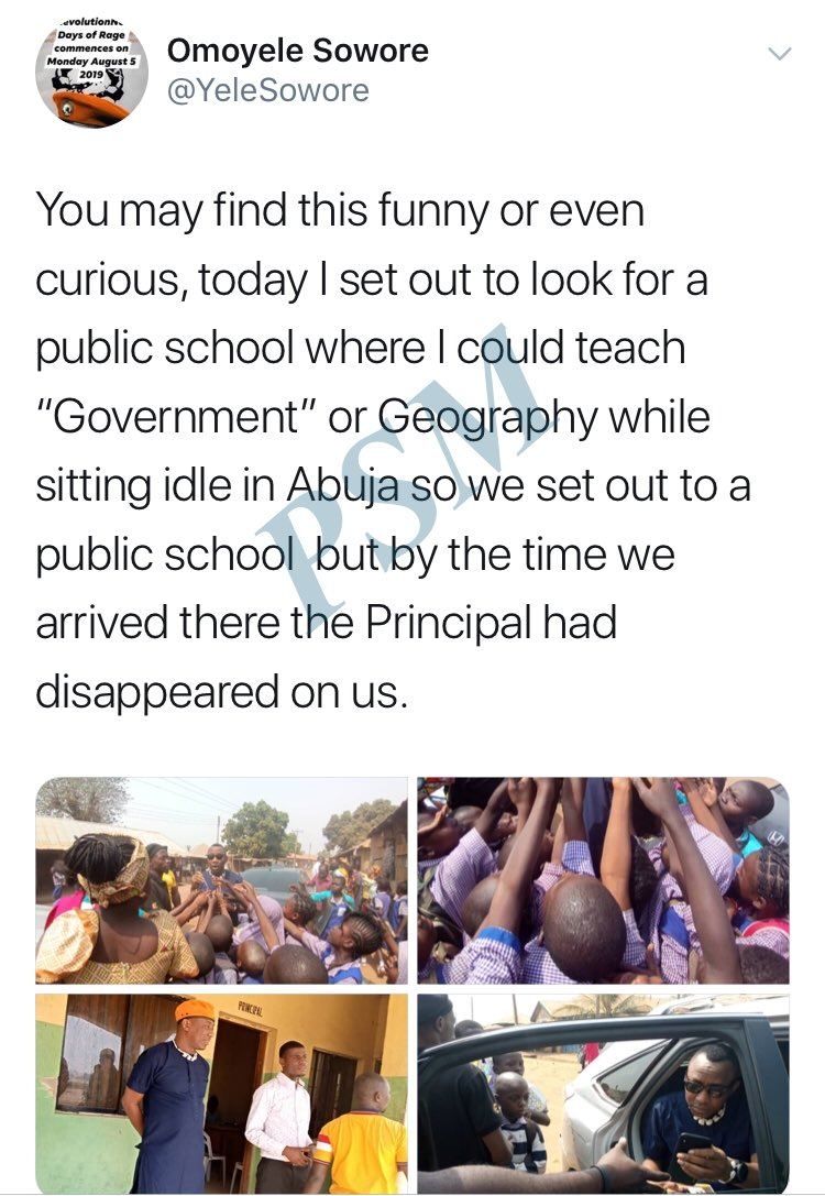 - School principal flee as Activist - Omoyele Sowore, Applies For a teaching job while sitting idle in abuja.