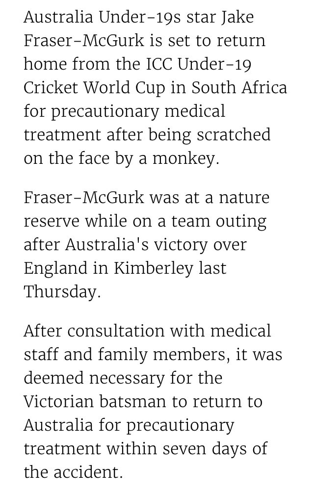 Australia Under 19s player Jake Fraser-McGurk to return home from the #U19CWC after being scratched on the face by a monkey. Full story👇 #bbccricket