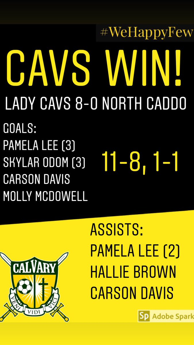 Lady Cavs get a pair of hat tricks from Skylar Odom and Pamela Lee, while Abram Murray nets four for the boys. Lady Cavs 8-0 North Caddo Cavs 6-0 North Caddo #WeHappyFew⚽️⚔️
