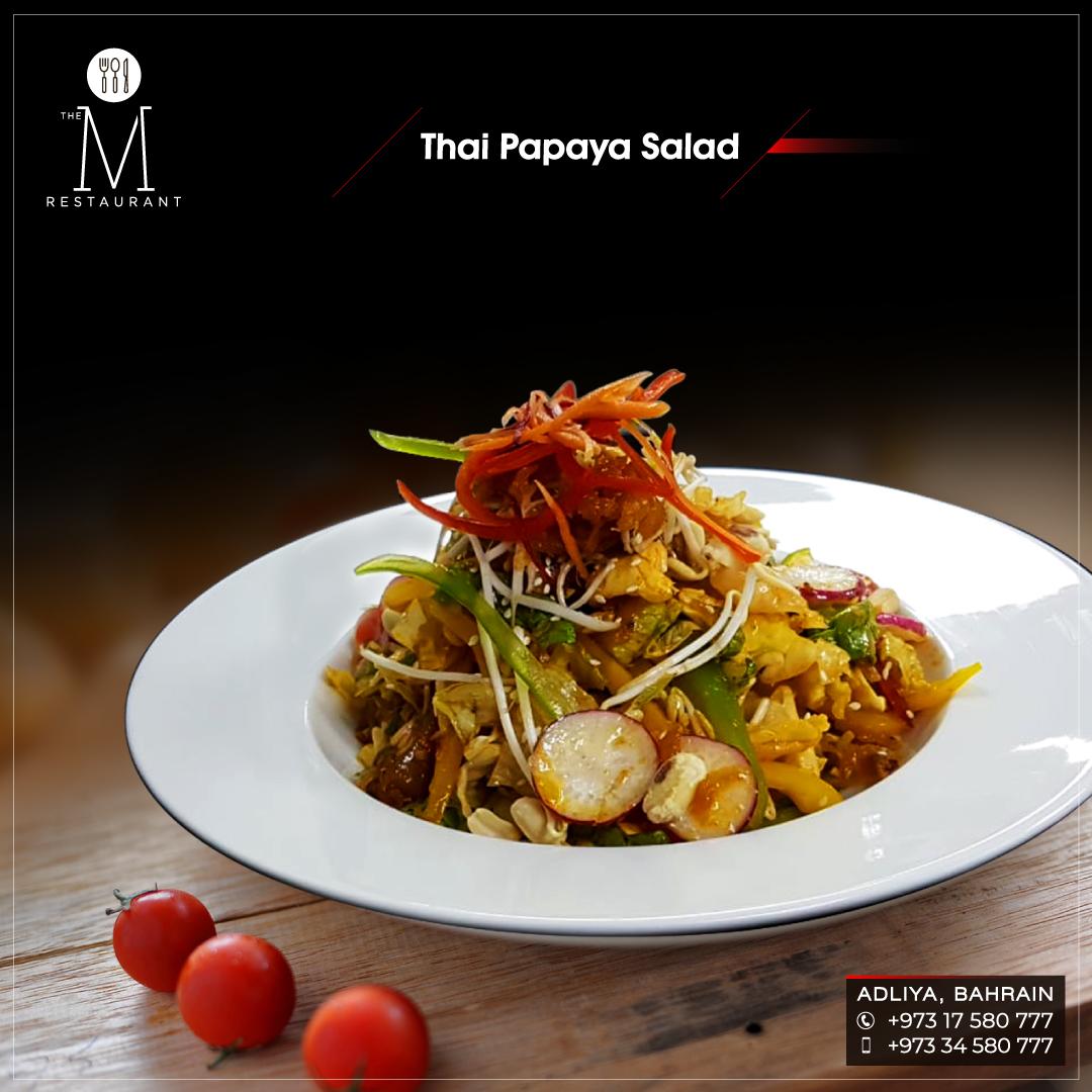 If you feel like having something fresh today, try thai papaya salad @ The M Restaurant, Bahrain! #papaya #papayasalad #saladlover #thaipapayasalad #thaicuisine #thaifood #thai #vegan  #restaurant #foodie #foodporn #food #meal #eat #eatgreen #finedine #finedining #orderonline