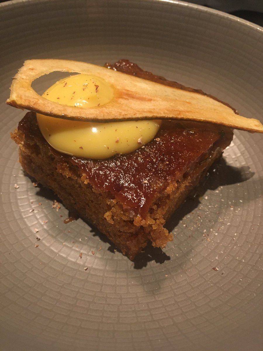 Warm pear and ginger cake, rosemary custard 😋 . Stop the Waste Menu .  @tredwells @marcuswareing  @chef_chantelle . #stopthewaste #tredwells #marcuswareing #london  #foodie #foodlover #foodporn #foodaddict #lovefood #foodpassion #foodpost #countingstars #visitlondon