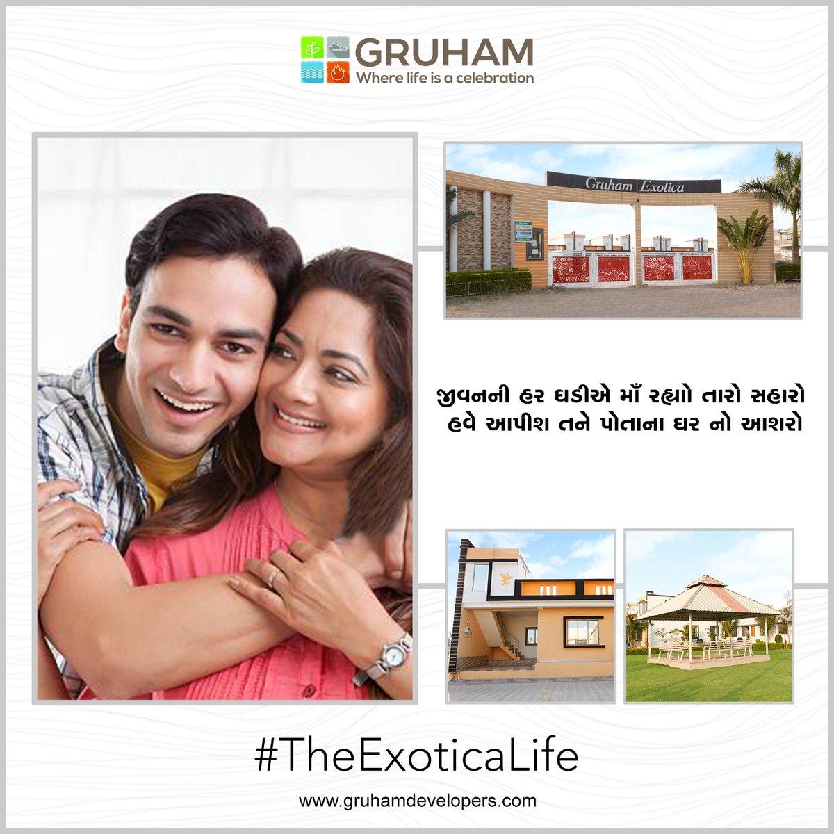 જે માતા-પિતાની છત્ર-છાયામાં થયો તમારો ઉછેર,  હવે આપો એમને પોતાના ઘરની છાયા નો સુંદર ભેટ!  તમારા પરિવાર સાથે આજે જ આવો Gruham Exotica પર!  #GruhamDevelopers #buildersanddevelopers #TheExoticaLife #GruhamExotica #Luxurious #ResidentialProject #House #Home #DreamHouse #Amenities