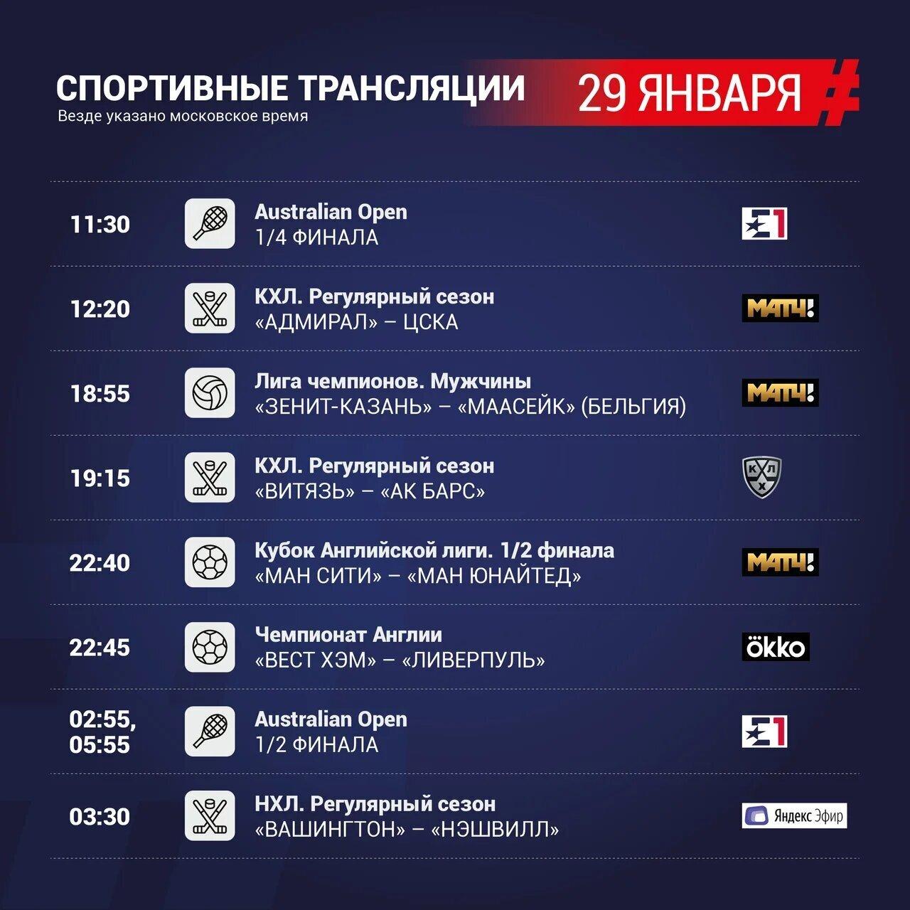 Спортивная телепрограмма Матч ТВ на 29 января