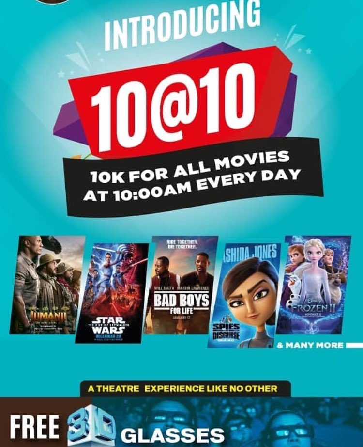 Today, WED: 29 JAN 2020 we are showing  DOLITTLE - 3D at 10:00am STAR WARS: THE RISE OF SKYWALKER - 3D at 12:00pm JUMANJI: THE NEXT LEVEL- 3D at 3:00pm THE INFORMER- 2D at 5:15pm BAD BOYS FOR LIFE -2D at 7:30pm PANGA -2D at 9:35pm   Remember, we have 10@10am promo.pic.twitter.com/UGEZQPCEih