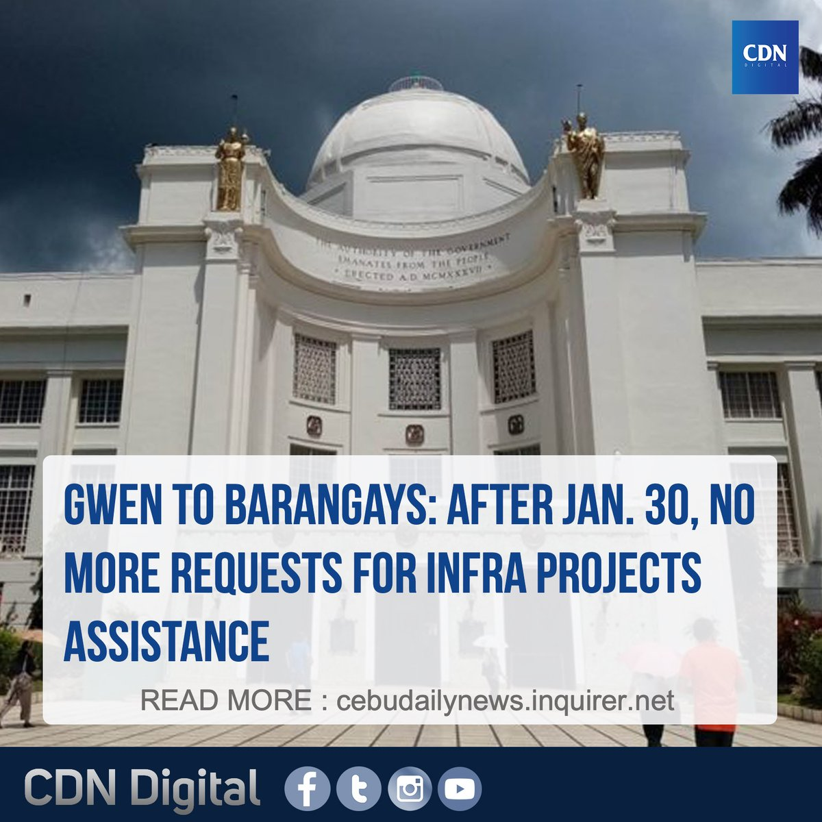 #CDNTopStories: During their assembly, barangays officials were told to submit resolutions approved by their respective barangay councils to formally make a request for assistance from the Capitol to the Provincial Planning and Development Office (PPDO) on or before January 30. pic.twitter.com/lYw11DycEk