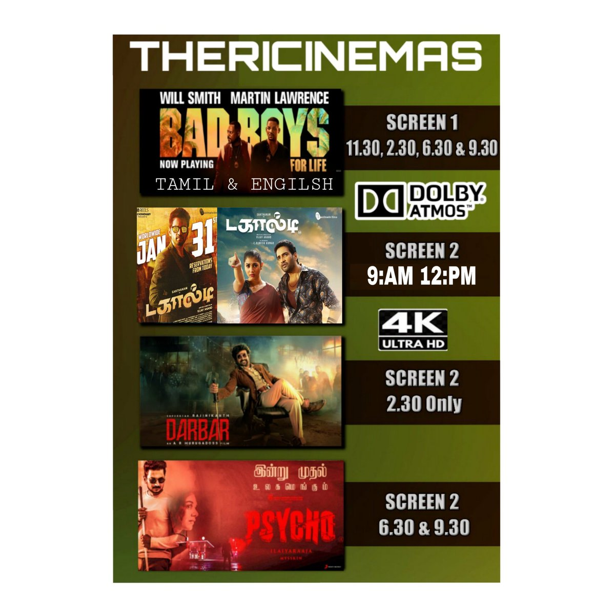 @Theri_Cinemas LinesUp For The Mega Movie Marathon .  Bookings Now Begins At @Theri_Cinemas For #BadBoysForLife | #Dagaalty | #Darbar  & #Psycho .  Grab Your Tickets Now At @TicketNew   Experience The Movie In 4K Projection With DOLBY ATMOS Sound System.pic.twitter.com/ULMXI41ENN
