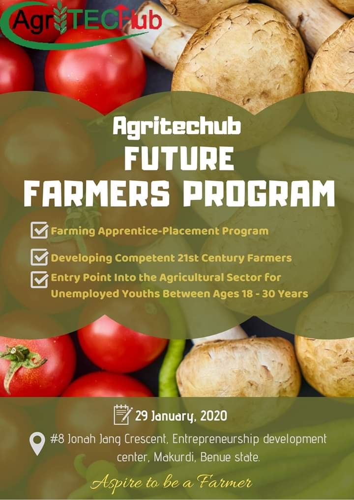 #AgriTecHub remains committed in developing the capacity of young people in Benue State and beyond. This is why we've birthed FUTURE FARMERS PROGRAMME, it is an informal farming apprentice placement program for school leavers. pic.twitter.com/VU6iizc4Uk