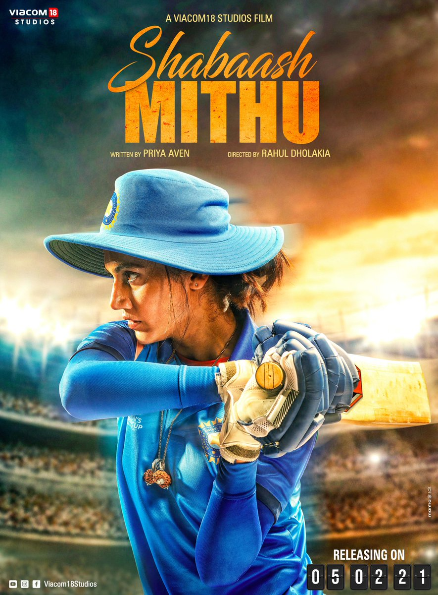#TaapseePannu Here Comes The First Look Poster Of #ShabaashMithu.  Biopic On The Life Of Cricket Legend #MithaliRaj  Directed By - #RahulDholakia  Produced By - @Viacom18Studios   5 Feb 2021 release.pic.twitter.com/Zo4Myx2Esh