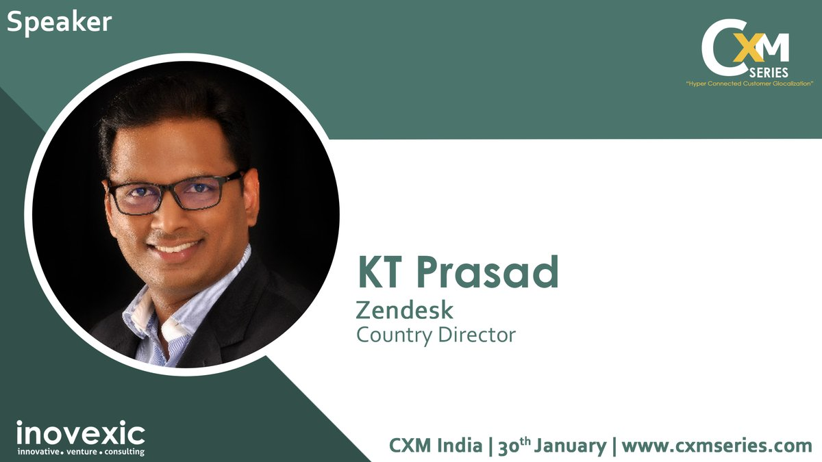 We are excited to announce KT Prasad, Country Director of  @Zendesk as a speaker at CXMSERIES India.  CXMSERIES 2020 | Jan 30th 2020 | Courtyard by Marriott Bangalore  To know more & participate:http://cxmseries.com  #customerexperience #cxm #CXpic.twitter.com/12WuyA96W2