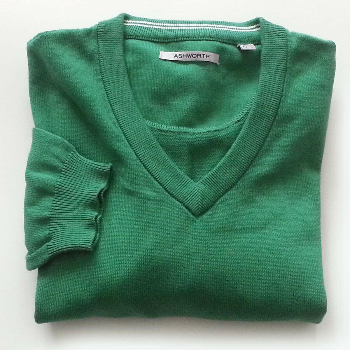 Sale $27.97 ebay.to/2KLhQYq Ashworth #sweater Men Size M Green #cotton V-Neck