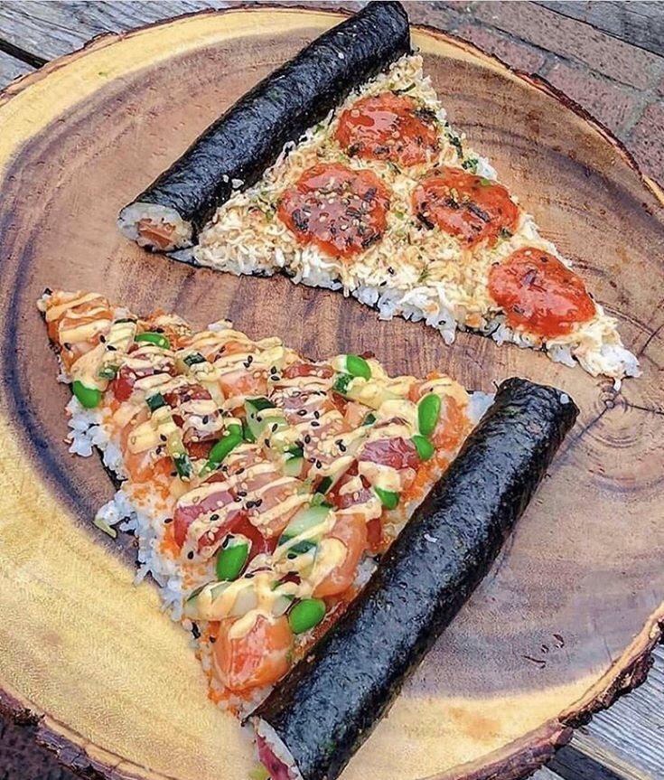 La pizza-sushi est-elle la solution à tous ces couples qui se disputent le soir pour choisir le repas? #pizza #sushi #amoureux #couple #stvalentin #restaurant