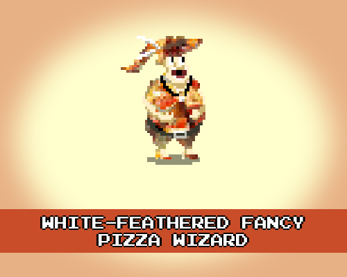 White-Feathered Fancy Pizza Wizard #Pizza