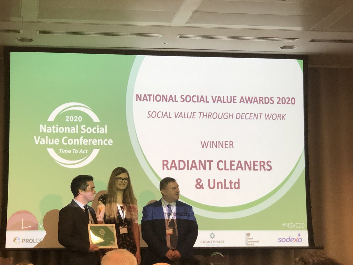 Great to be at @socialvalueport National Social Value Conference and celebrating @RadiantCleaners being awarded winner of Social Value Through Decent Work. Fantastic achievement. Congratulations to Matt and the team. #socialenterprise https://t.co/lfGTqa5xJI
