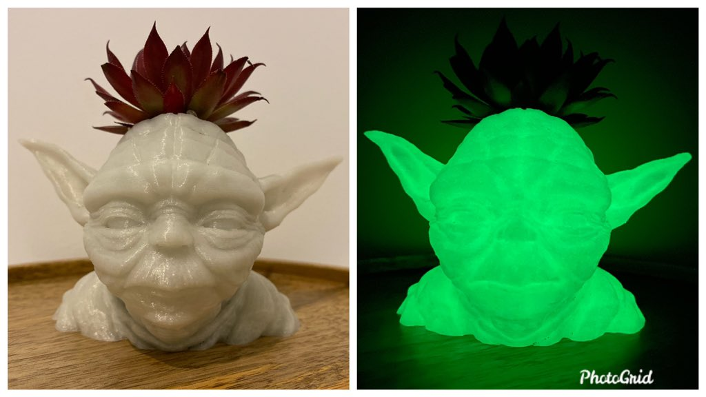 This Yoda Glow in The Dark Planter looks awesome, and can be used as a pen holder too! #starwars #yoda #planter #pot #glow #dark #glowinthedark #esun #pla #pen #holder