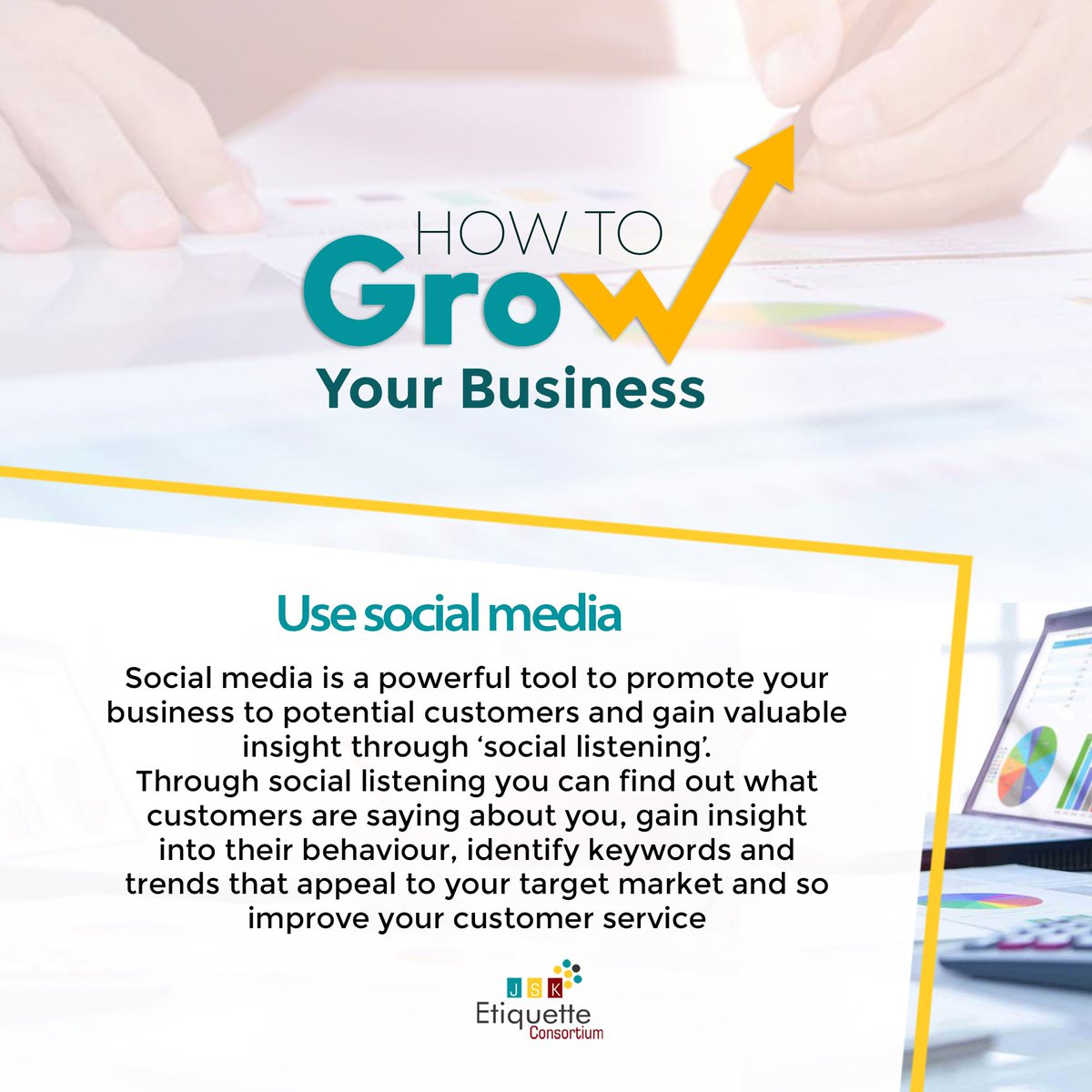 Use social media  Social media is a powerful tool to promote your business to potential customers and gain valuable insight through 'social listening'. . #jsketiquette #businesssuccess #businessgrowth #enterpreneurship #businessdevelopment #business #hustlersquare #socialmediapic.twitter.com/WpnyabPPBI