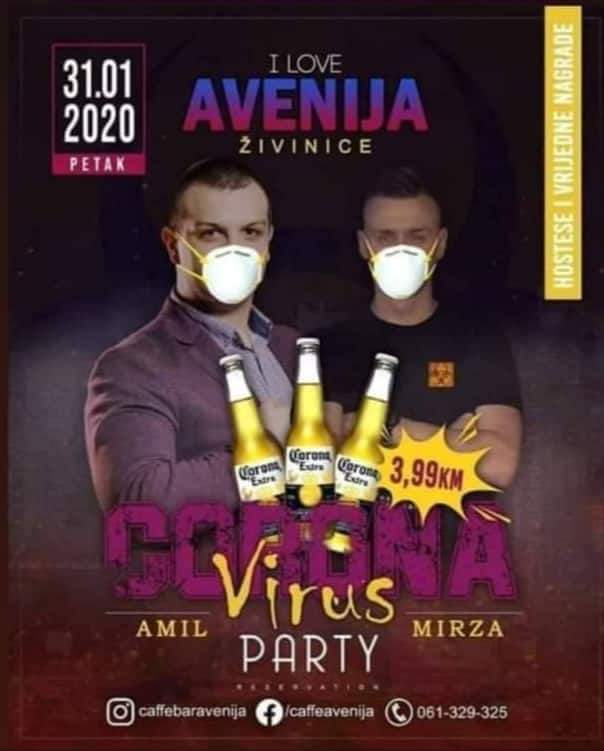 Aleksandar Brezar On Twitter This Is Real Folks A Bar In Zivinice Bosnia Is Organising A Corona Virus Party See The Image Below I Think We Ve Reached Peak Capitalism Now Https T Co Mtwapbk5ce