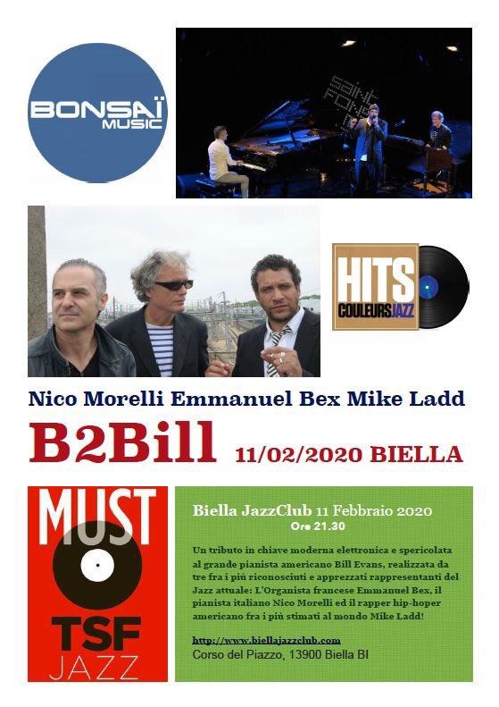 Presso lo storico Biella JazzClub (1966)!!!,... l'11 Febbraio alle 21.30!!!.... Un tributo in chiave moderna alla musica del grande Bill Evans con Nico Morelli al pianoforte (Loop Machines), Emmanuel Bex (Organo Hammond, Vocoider) e Mike Ladd (Spoken Word)...non potete mancare!!! pic.twitter.com/Ihet3jbrFP