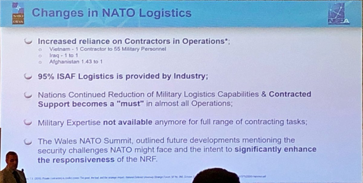 The dependence on Civilian Support is clearly shown on this slide from @NSPA_NATO. Vietnam War: one contractor for every 55 military, Afghanistan: almost 3 civilian contractors for every 2 soldiers. #combatlog @Defence_Leaderspic.twitter.com/E8ElMeVJZe