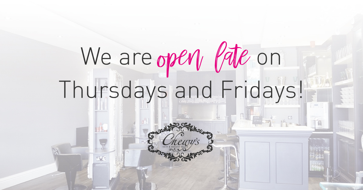 Chewy's are open late on Thursday and Friday nights! Open till 8pm for those after hour appointments    Contact us on 01452 221866 to book an appointment today or for online bookings visit http://www.chewys.co.uk!  #ChewysMoreThanJustASalon #BookYourAppointmentToday pic.twitter.com/0LoeBeo3I6
