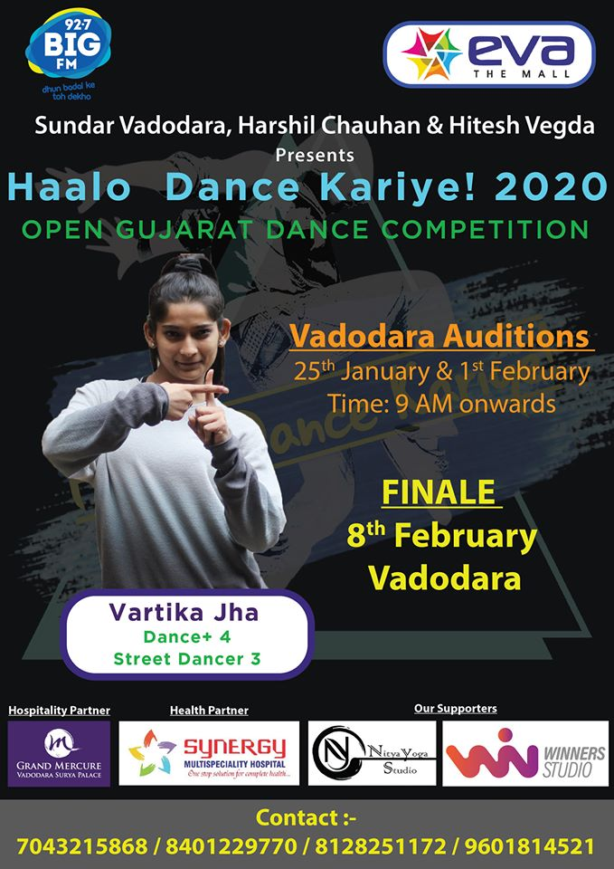 Attention..!! #Vadodara - Dance Lovers...  Haalo Dance Kariye! is an Open Gujarat #DanceCompetition Vadodara Auditions. 1st Feb & 2nd Feb #evathemall  Organize by Sundar Vadodara  To Register, Call us on 7043215868 | 8401229770 | 8128251172 | 9601814521 #dance #StreetDancer3Dpic.twitter.com/DeNEpN8cxC