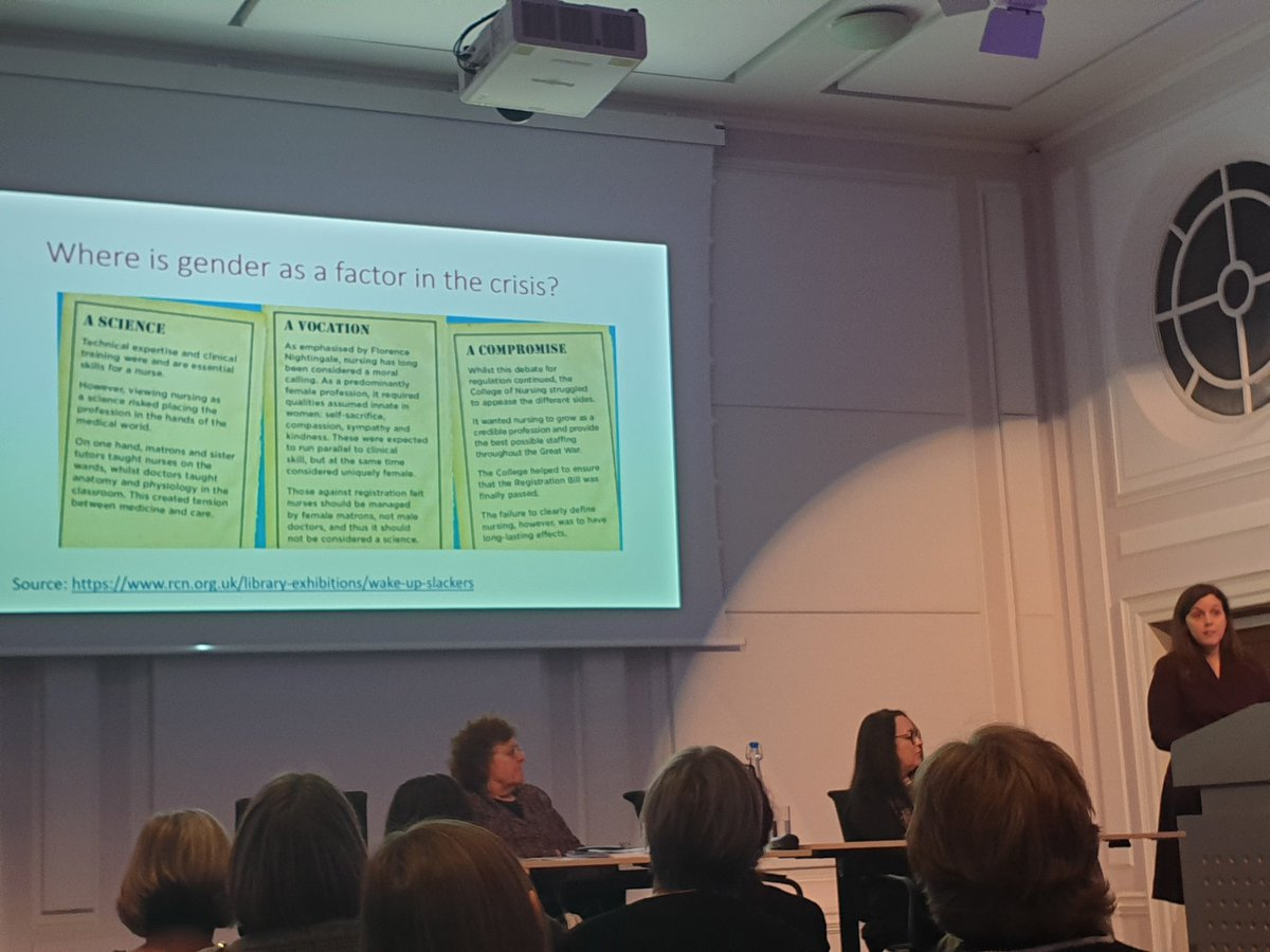 A powerful talk to launch the rcns new report about gender and nursing as a profession, love seeing @RCNLibraries exhibitions used in a speakers talk!pic.twitter.com/zvf9ntqT2x