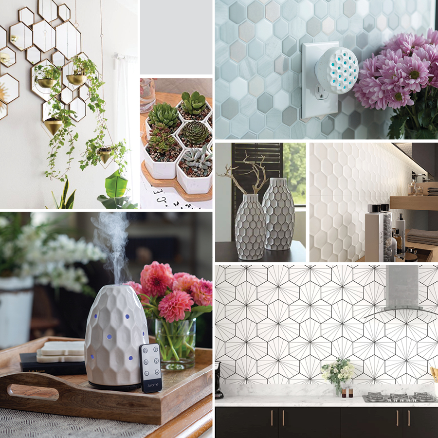 There are so many ways to incorporate a honeycomb or hexagon pattern into home décor, and each one makes such a statement! #airome #essentialoils #diffuser #aromatherapy #homedecor