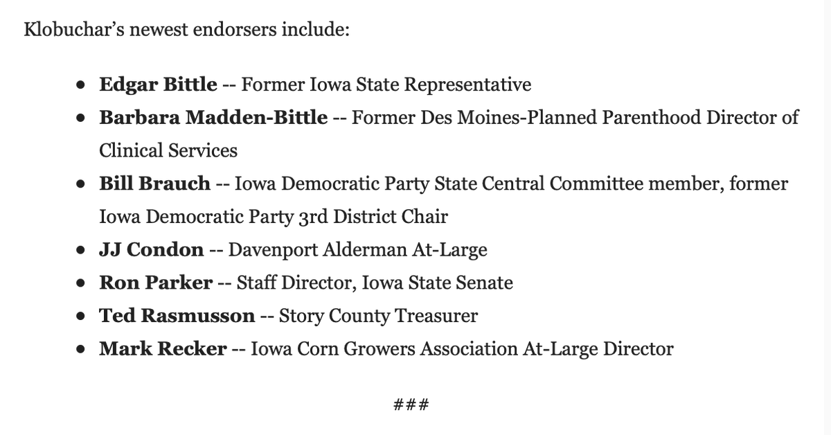 Honored is an understatement! Thank you to our 7 new Iowa endorsers as the #IACaucus nears! Let's #WinBig