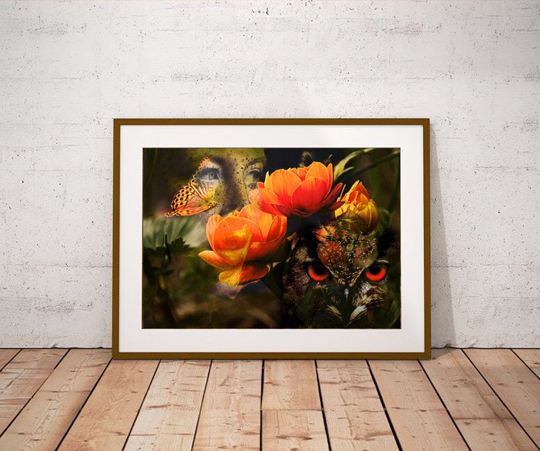 Excited to share this item from my #etsy shop: #WallArt #Flowers #Woman #Owl #Butterfly #Collage #Photography #Surreal  #homedecor #surrealart #artprint