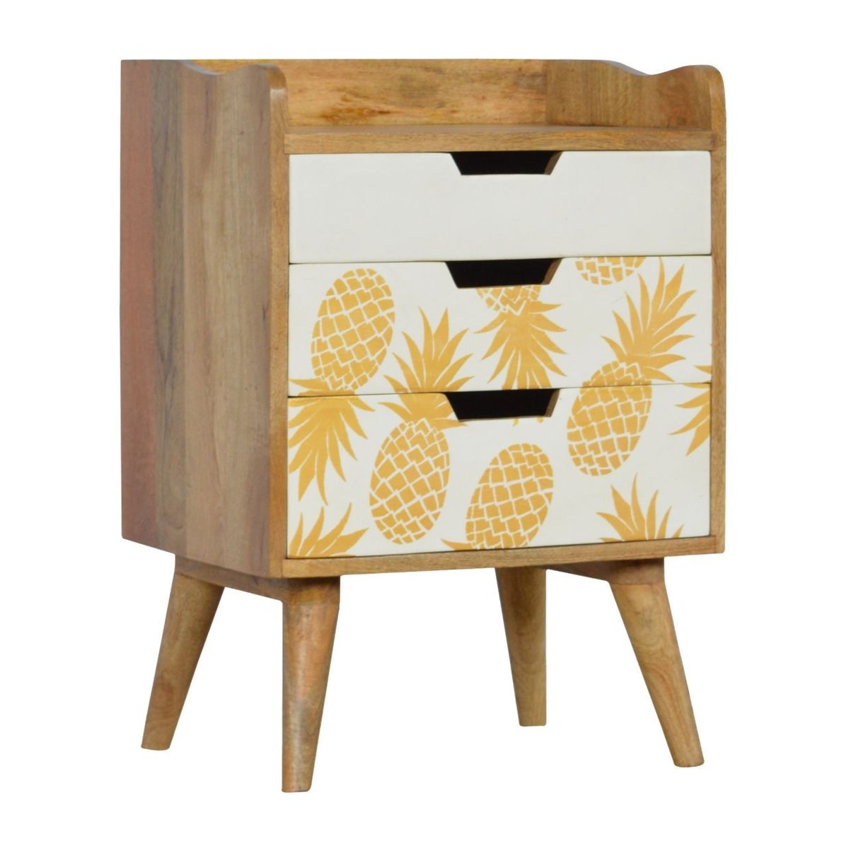 Would you like pineapple with that?! 🍍 Love this cute little set of drawers ... ideal bedside or talking point in your sitting room! Just £149 includes delivery   #pineapplefurniture #funfurniture #mangowood #interiordesign #interior #homedecor