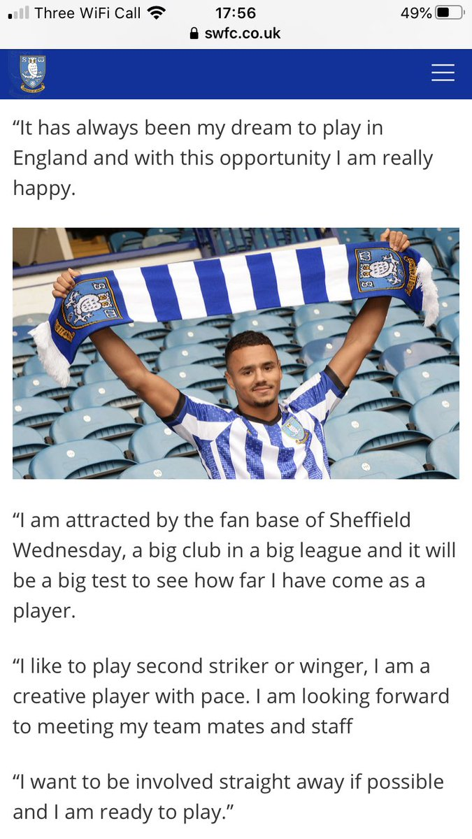 Done deal: #SWFC have signed Alessio Da Cruz from Serie A side Parma on loan until the end of the season.